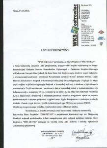 List referencyjny - Budynek Serwisu Samochodów Ciężarowych w Kiełczowie