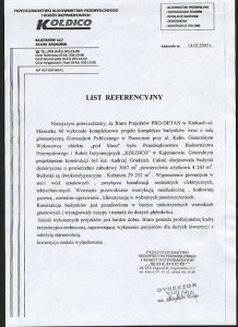 Budynek gimnazjum - Piaseczno - list referencyjny
