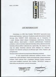 Tarmont Panel -list referencyjny