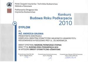 Dyplom - Konkurs Budowa Roku Podkarpacia 2010