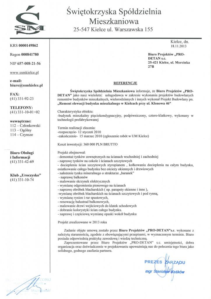 ul. Klonowa 46, referencje