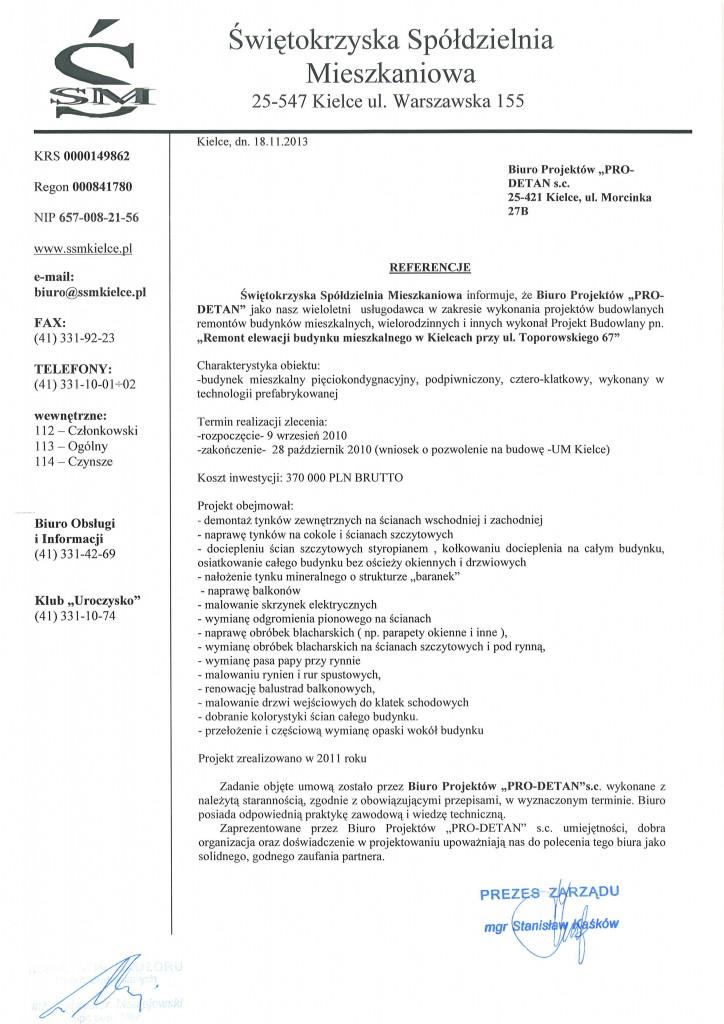 referencje Toporowskiego 67