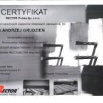 Certyfikat ze szkolenia dla inż. Andrzeja Grudzień