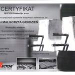 Certyfikat ze szkolenia dla mgr inż. Małgorzaty Grudzień
